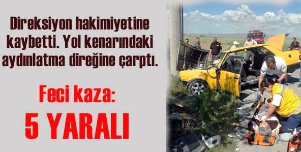 Akyurt'ta Otomobil Direğe Çarptı: 5 Yaralı